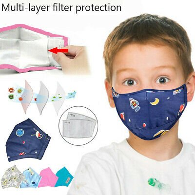 Kids Breathable Air Pollution PM 2.5 Face Mouth Mask & 2 Filters Cotton Mask UK