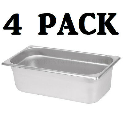 4 Pack 13 Size Stainless Steel Steam Prep Table Pan Commercial Food 4 Deep
