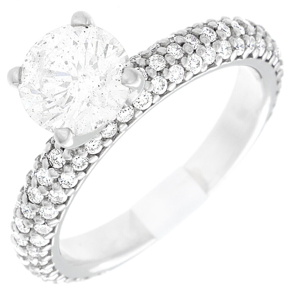 GIA Certified Round Cut Diamond Engagement Ring 18k White Gold 3.00 carat