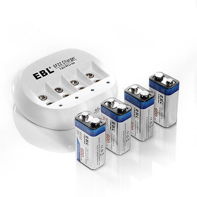 4x EBL 600mAh Li-ion 9V 9 Volt 6F22 Lithium-ion Rechargeable Battery + Charger on Rummage