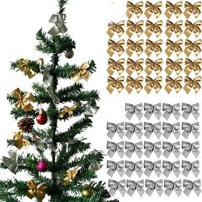12/24pcs Ribbon Bow Tie For Christmas Tree Hanging Decoration Xmas Ornaments