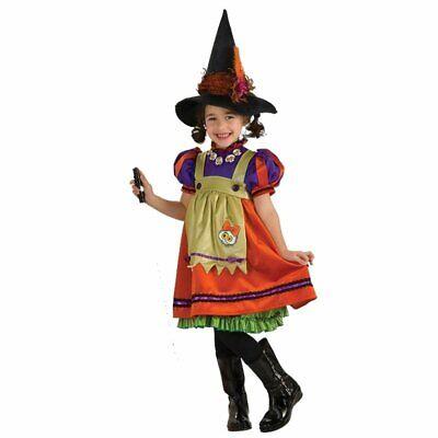 kleine Hexe Orange Witch Fasching Halloween Karneval Kinder Mädchen Kostüm (Orange Kind Kostüm)