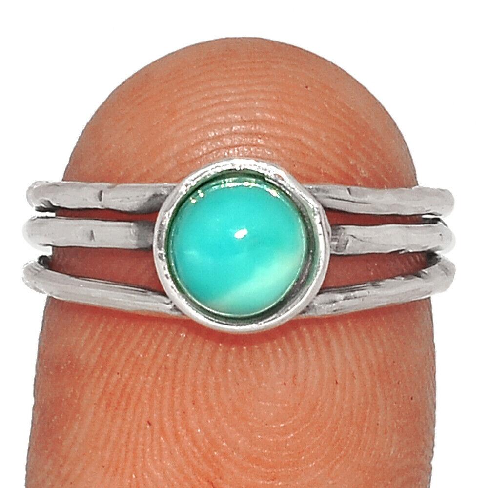 Genuine Larimar - Dominican Republic 925 Silver Ring Jewelry S.6.5 BR36692 277G - $10.99