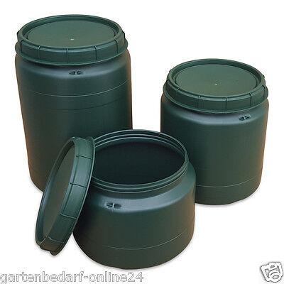 25, 40, 60 Liter Tonne Fass Drehdeckel Weithalsfass Lagerbehälter grün