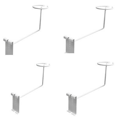 Set Of 4pc White Racks Wire Gridwall Slat Panels Display Hook For Hat Cap