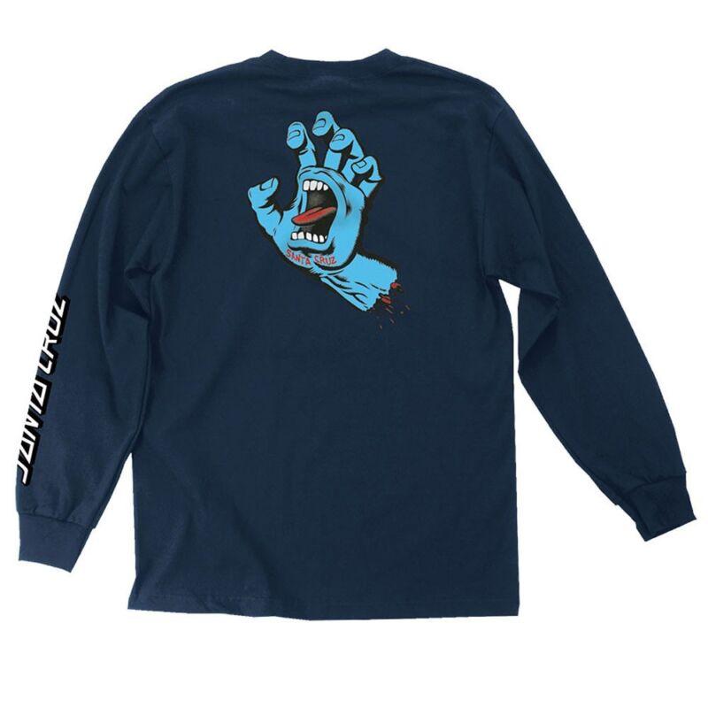Santa Cruz SCREAMING HAND LONG SLEEVE Skateboard Shirt NAVY XXL