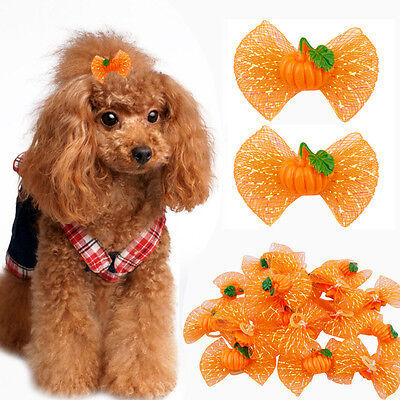 20/40/100pcs Pumpkin Halloween Pet Dog Hair Bows Grooming Accessories for Yorkie