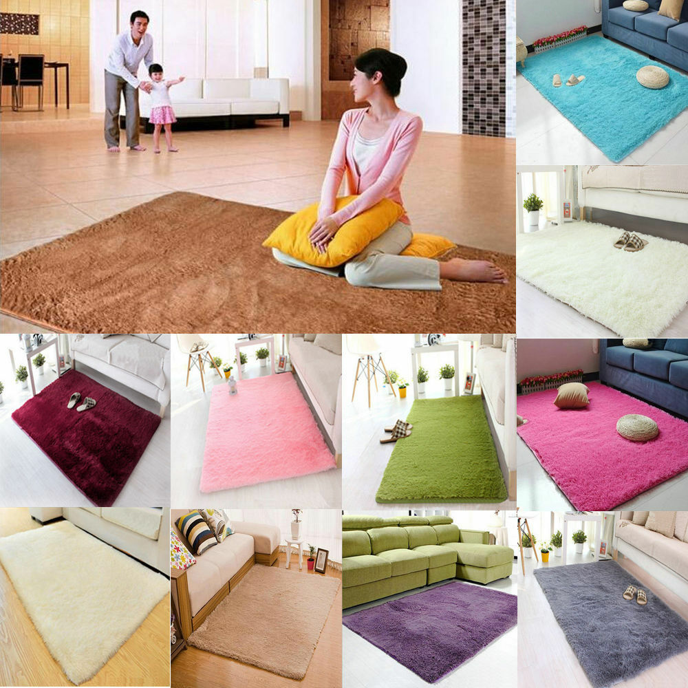 Soft fluffy rugs anti skid shaggy area dining room home for Soft carpet for bedrooms