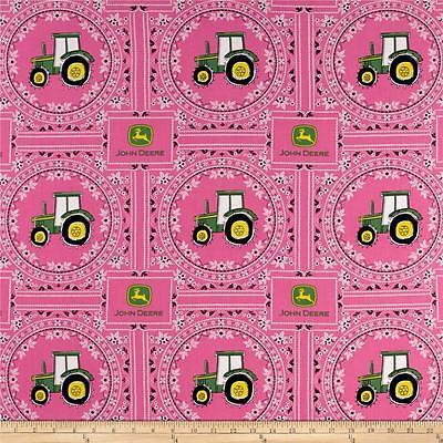 JOHN DEERE FABRIC PINK  tractor FABRIC bandana John Deere logos BTY NEW for sale  Shipping to India