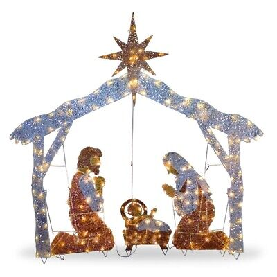 Nativity Scene Christmas Outdoor Set Pre-lit 250 Clear LED Lights Holiday NEW
