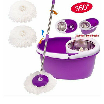 Easy Magic Spinning Floor Mop 360 Bucket 2 Heads Microfiber Rotating Head New