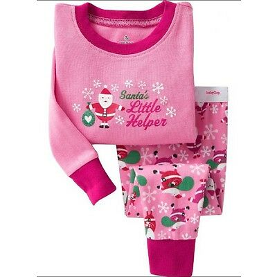 Santa Claus kids pajamas Long-sleeved trousers girls sleepwear set cotton 2T-7T - Santa Pajamas Kids