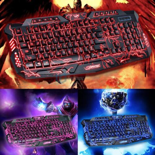 3 Colors Crack Illuminated LED Backlight USB Multimedia PC Gaming Keyboard A878