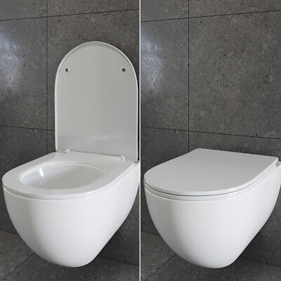 WC Sitz Absenkautomatik Toilettensitz Toilettendeckel Kunststoff Slim-Line weiß