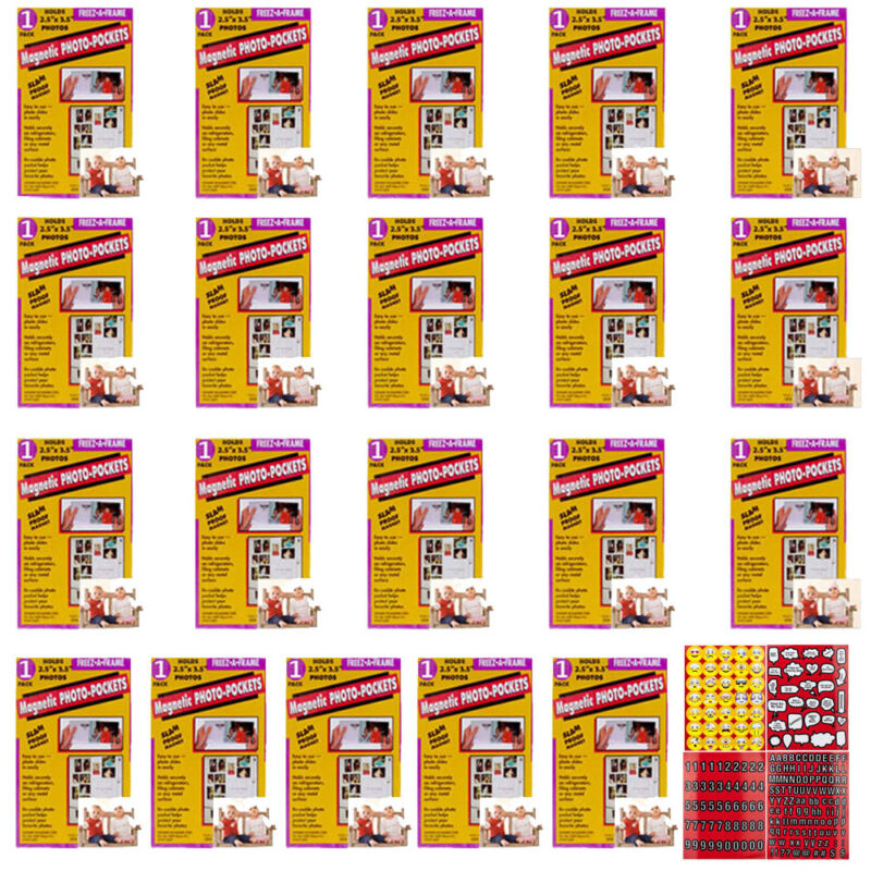 Freez A Frame Magnetic Photo Pocket Wallet Size 2.5x3.5 Pack of 20 + Stickers