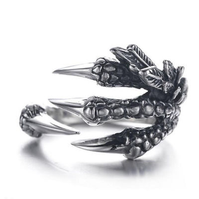 Punk Rock Silver Stainless Steel Adjustable Dragon Claws Band Unisex