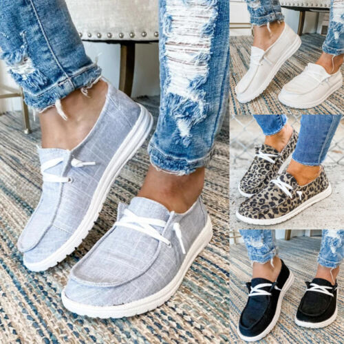 Women Casual Loafers Platform Flats Plimsolls Slip On Ankle Boots Trainers Shoes
