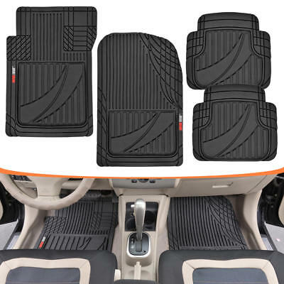 Heavy Duty Performance Rubber Car Floor Mats 4pc Front Rear in Black All Weather