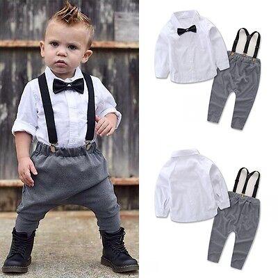 (US STOCK 2Pcs Infant Baby Boys Gentleman Clothes Shirt Tops Bib Pants Outfit Set)