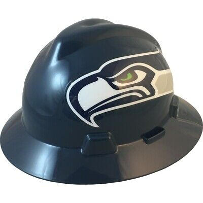 Seattle Seahawks Msa Nfl Full Brim Hard Hat With Fas Trac Suspension