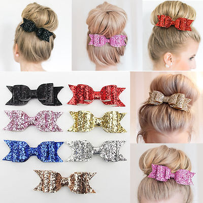 Womens Girl Sparkle Sequin Big Bowknot Barrette Hairpin Hair Clip Hair Bow 1pc U