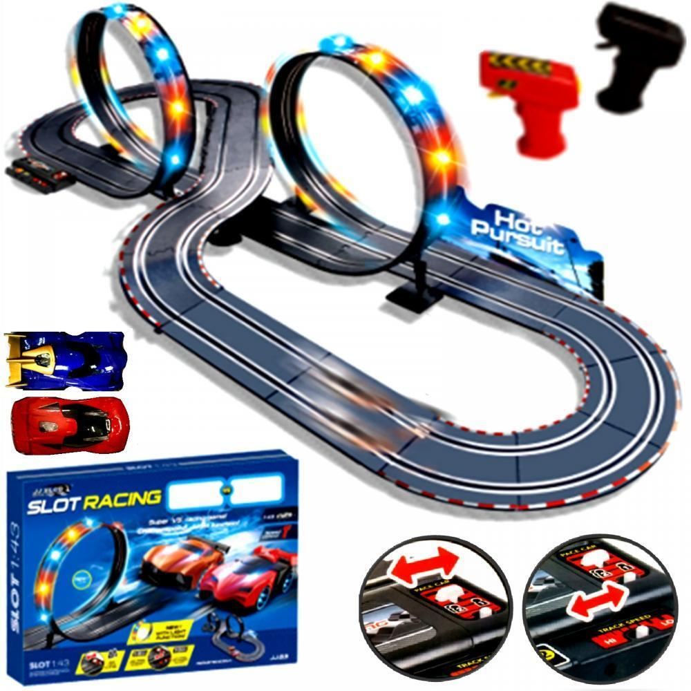 Toy Car Track : Large remote control light up slot car racing track kids