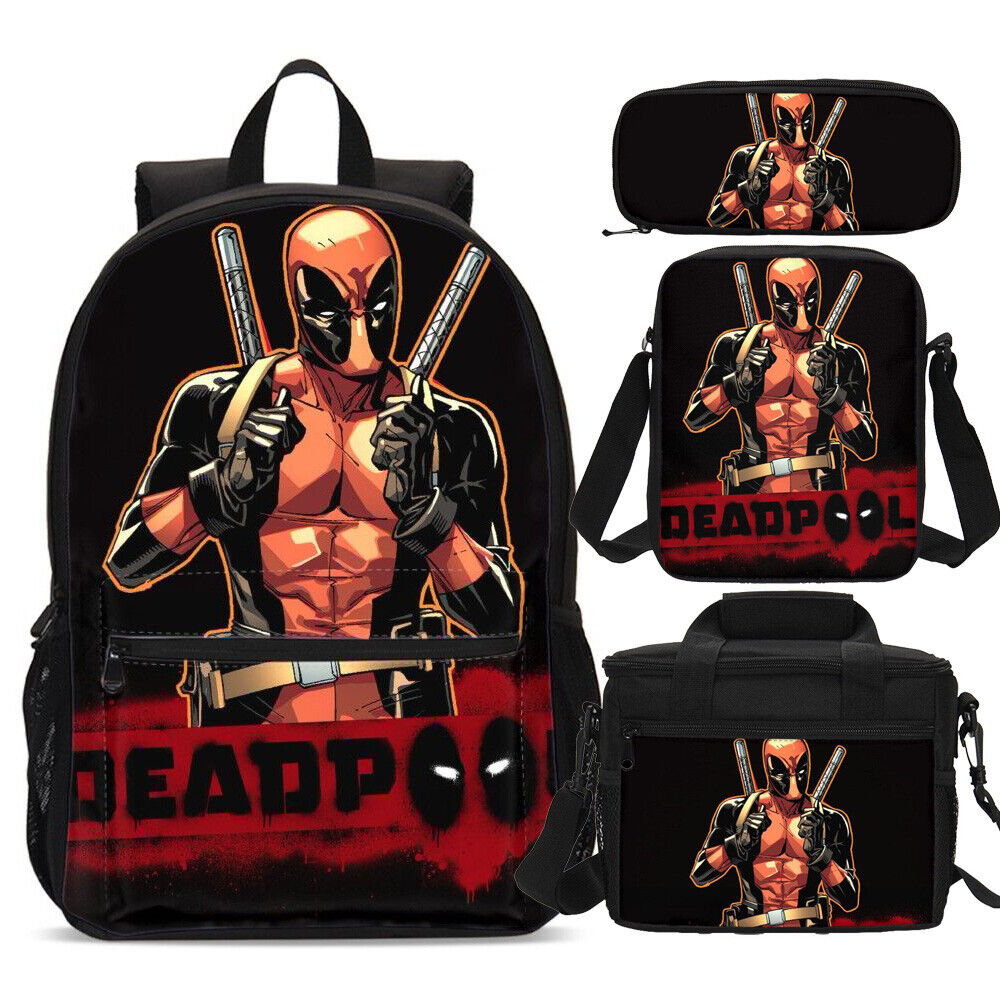Deadpool Marvel Backpacks Insulated Lunch Tote Crossbody Bag Pen Case Wholesale