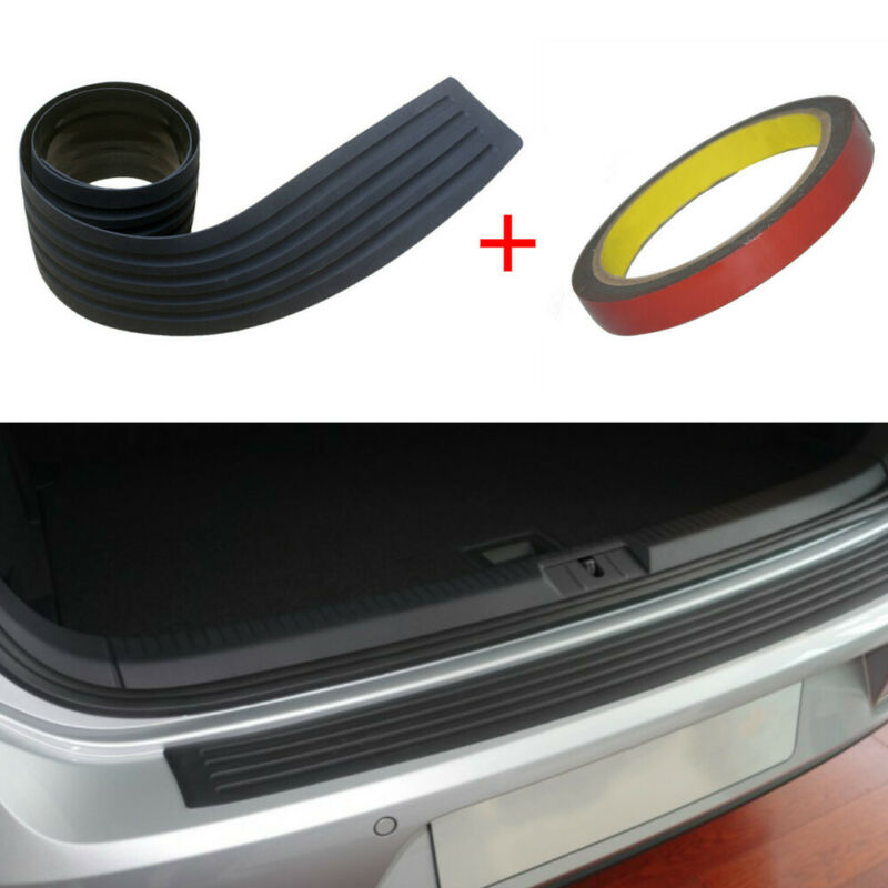 Car Black Rear Boot Bumper Sill Protector Plate Rubber Cover Guard Trim Strip 90x8cm