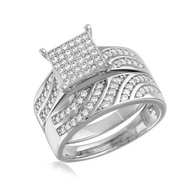 Sterling Silver 2-pcs Engagement / Wedding Square Design Pave CZ Stones Ring Set ()