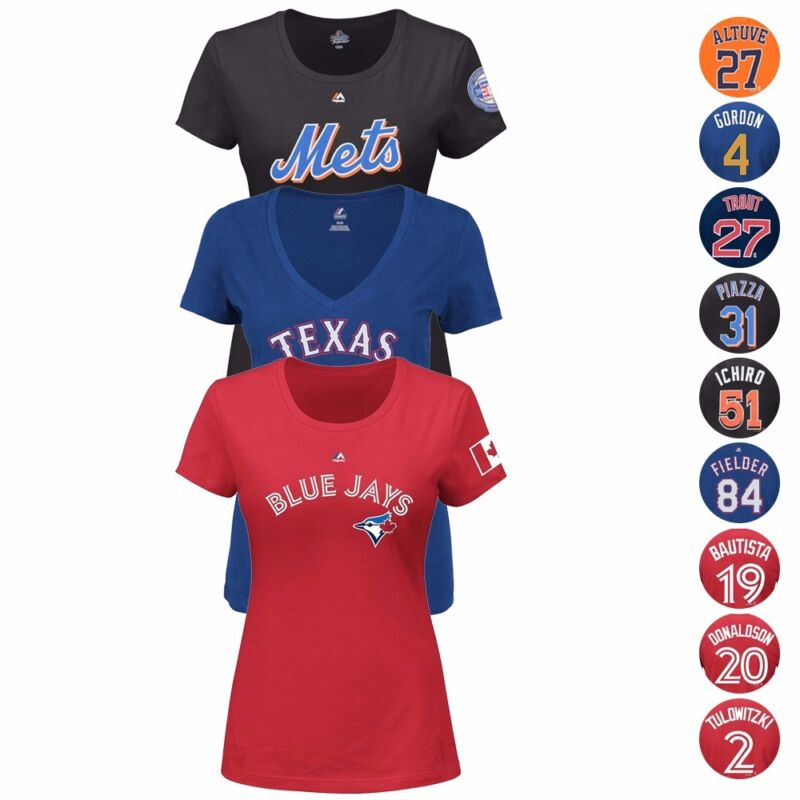 Mlb Team Player Name & Number Jersey T-shirt Collection By Majestic - Women