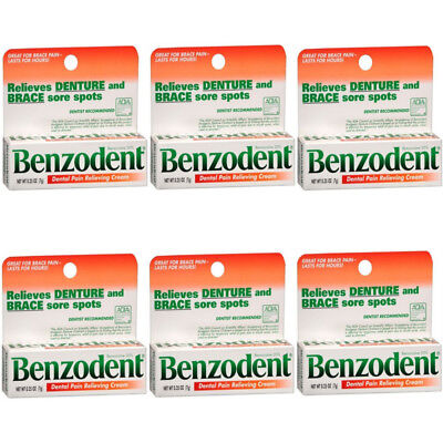 6 Pack Benzodent Denture Ointment - 0.25 Oz Each