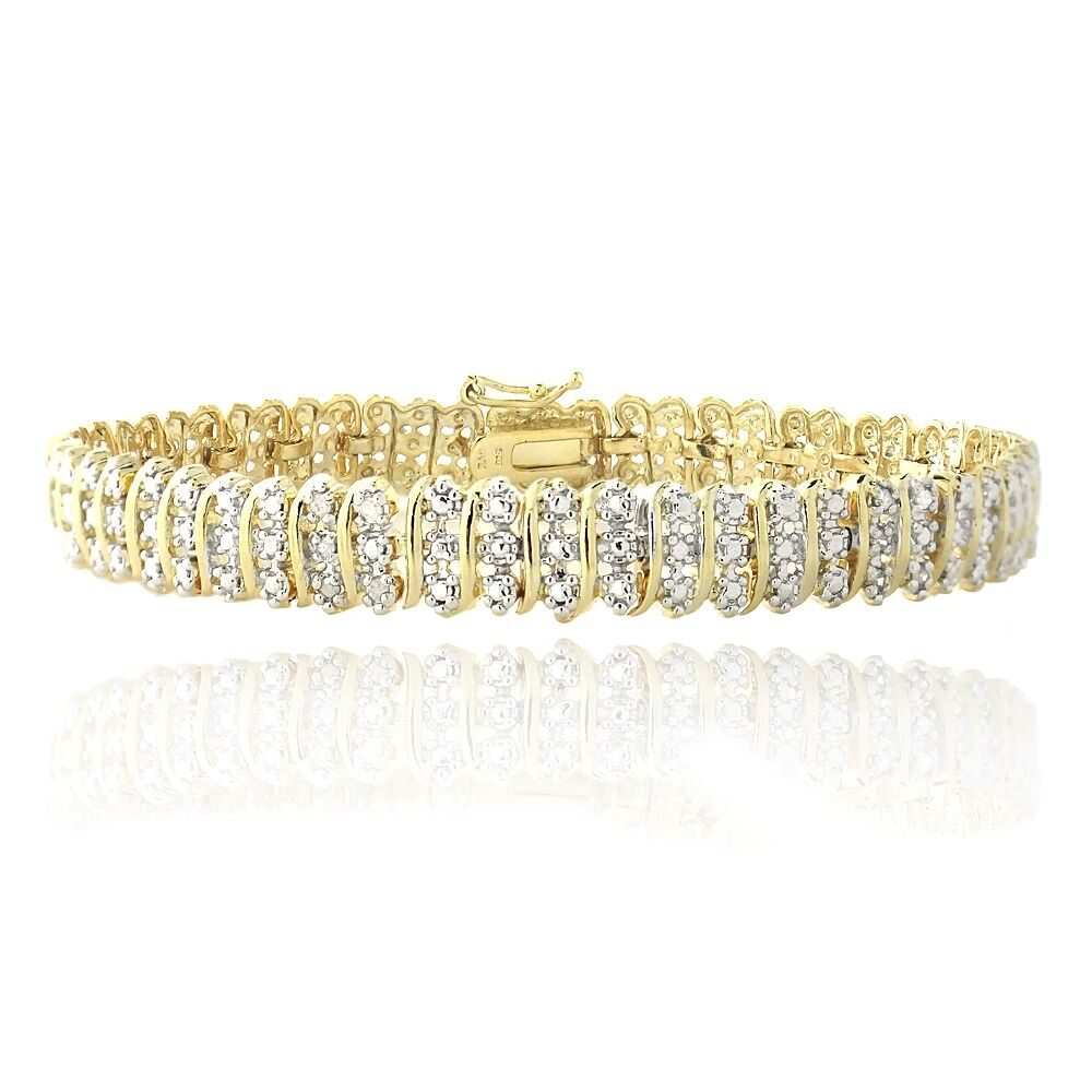 1.00ct TDW Natural Diamond S Link Tennis Bracelet in Gold or Silver Plated Brass Gold Tone