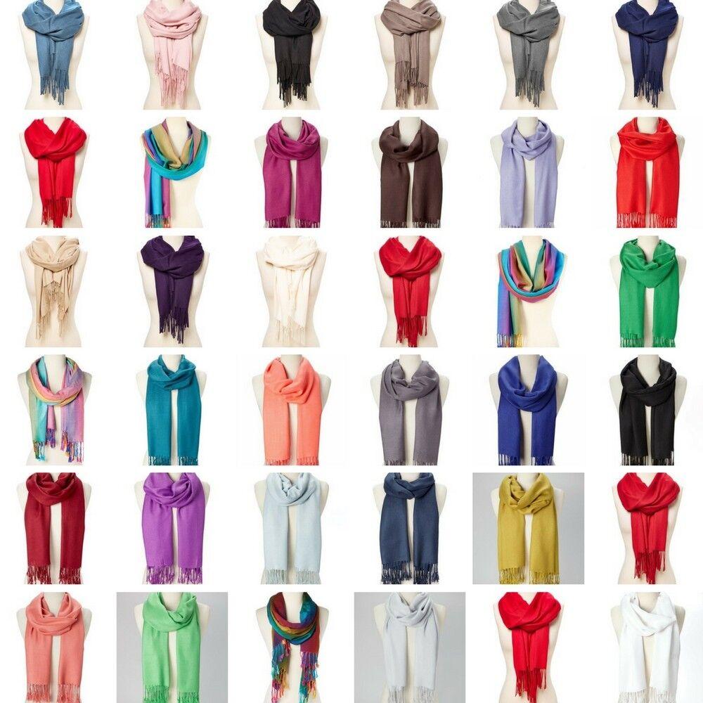 Scarf - Pashmina Cashmere Scarf Shawl Wrap Solid Stole Silk Soft Women Men Wool Blanket