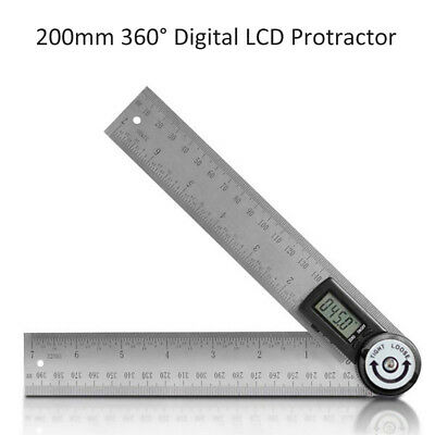 8 360 Electronic Digital Protractor Stainless Steel Goniometer Angle Finder Us