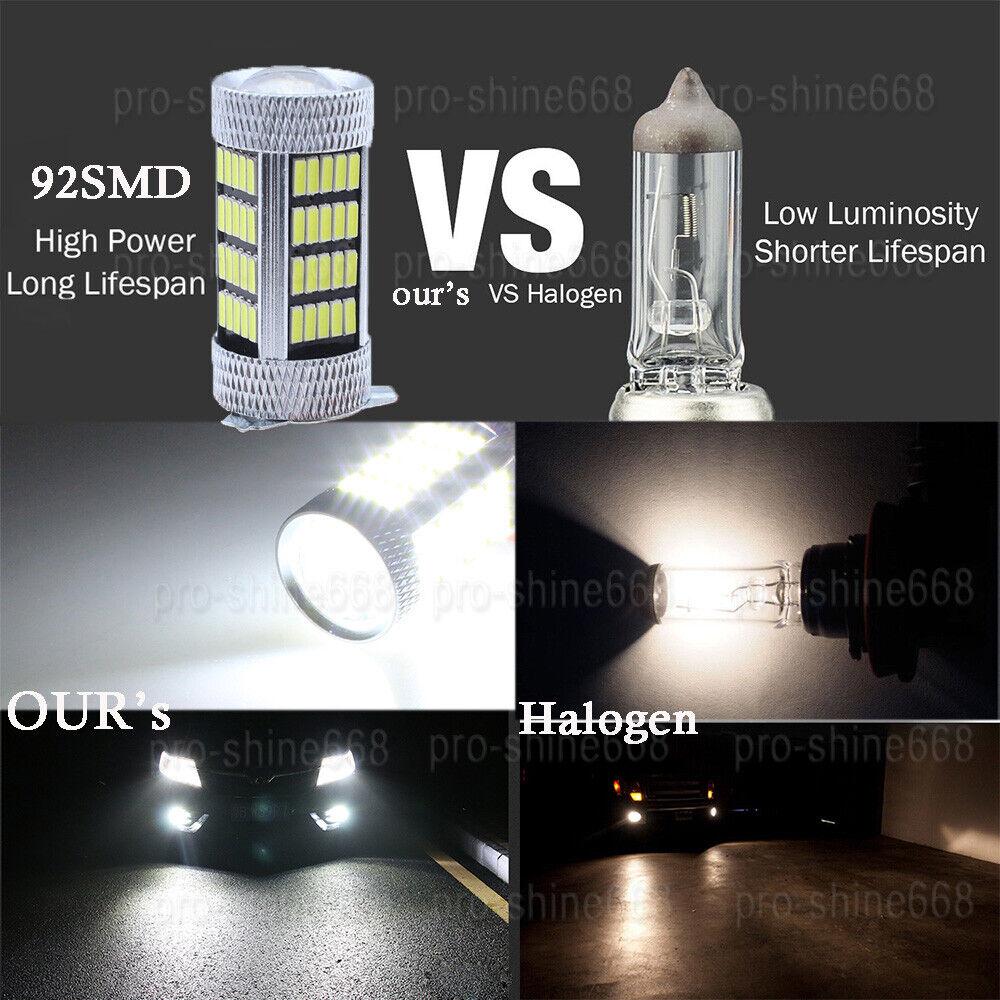 2x H4 9003 HB2 92SMD 4014 6000K White LED Fog Light Bulb CAR DRIVING DRL LAMP