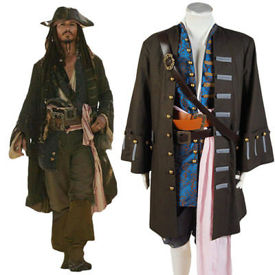 Pirates Of The Caribbean Jack Sparrow Cosplay Costume Halloween Outfit Full - Jack Sparrow Full Costume