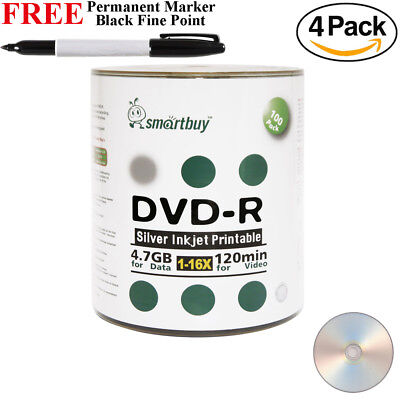 Smart Buy 400 16x Smartbuy Dvd-r Silver Inkjet Hub Printa...
