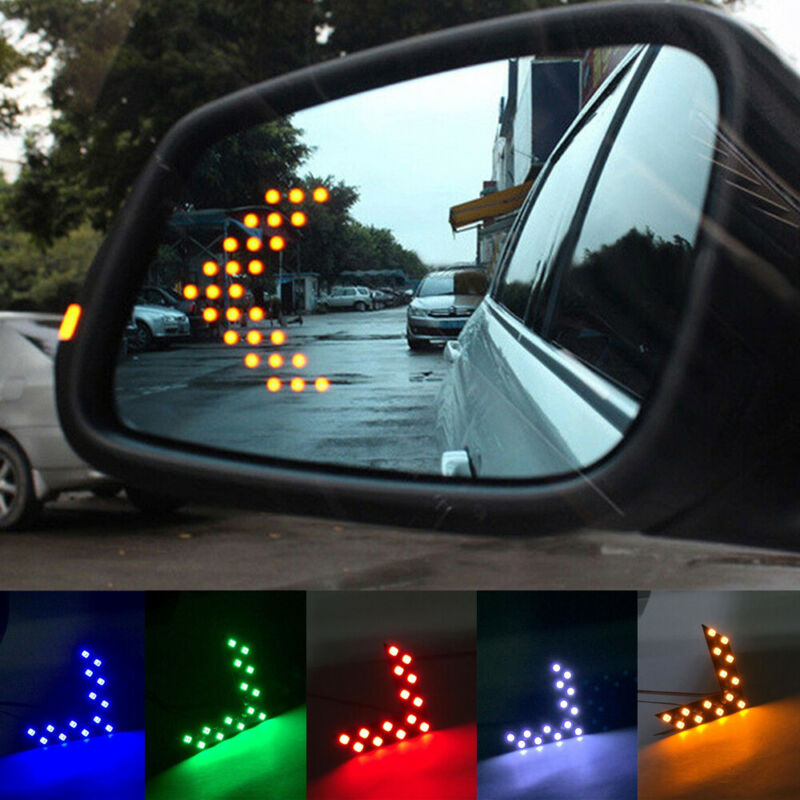 2Pcs Universal Soft Amber 9 SMD12V LED Car Rearview Mirror Indicator Lamp LigDS
