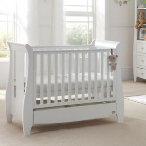 Tutti Bambini Katie Cot Bed in White + Sprung Mattress Baby Nursery Crib Cotbed