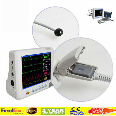 Patient Monitor Cardiac Monitoring Machine Ecg Nibp Resp Pr Spo2 Temp Cuff Fda