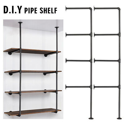 Diy Retro Wall Mount Iron Pipe Shelf Bracket Open Bookshelf Display Office Room