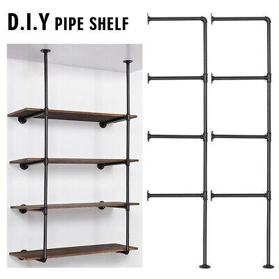Diy Retro Wall Mount Iron Pipe Shelf Bracket Open Bookshelf Display Office Room