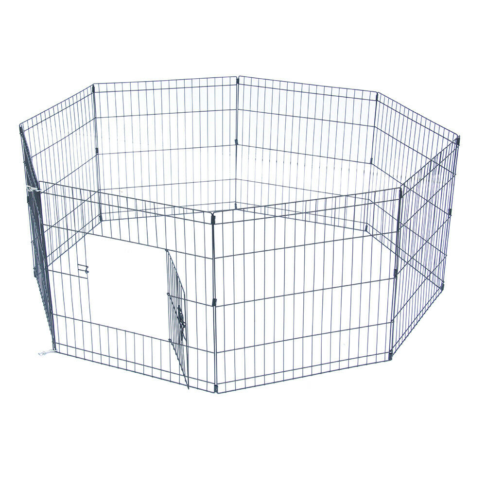 """24/30/36/42/48"""" Tall Dog Playpen Crate Fence Pet Play Pen Exercise Cage 8 Panel"""