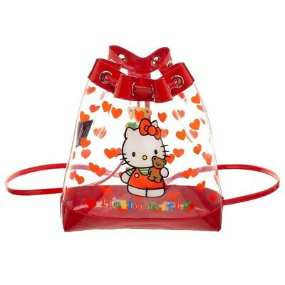 HELLO KITTY TRANSPARENT VINYL CINCH BUCKET MINI BACKPACK CLEAR HANDBAG PURSE NWT