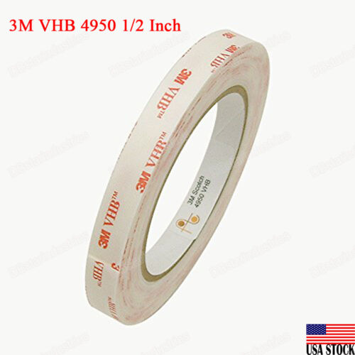 3m Vhb Double Sided Adhesive Tape 4950 White Industrial Grade 1/2 Inch X 5yd