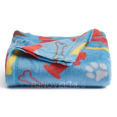 BLUE FLEECE  BLANKET THROWS DOG BONES,PAW PRINTS, AND FIRE HYDRANTS  46 X 56