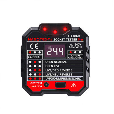 Electric Socket Outlet Tester Gfci Receptacle 3 Indicator Lights Wall Outlet