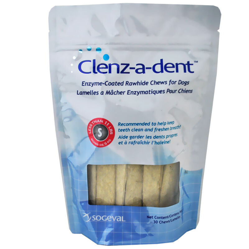 Clenz-A-Dent Rawhide Chews for Small Dogs Less Than 11 lbs. - 30 Chews