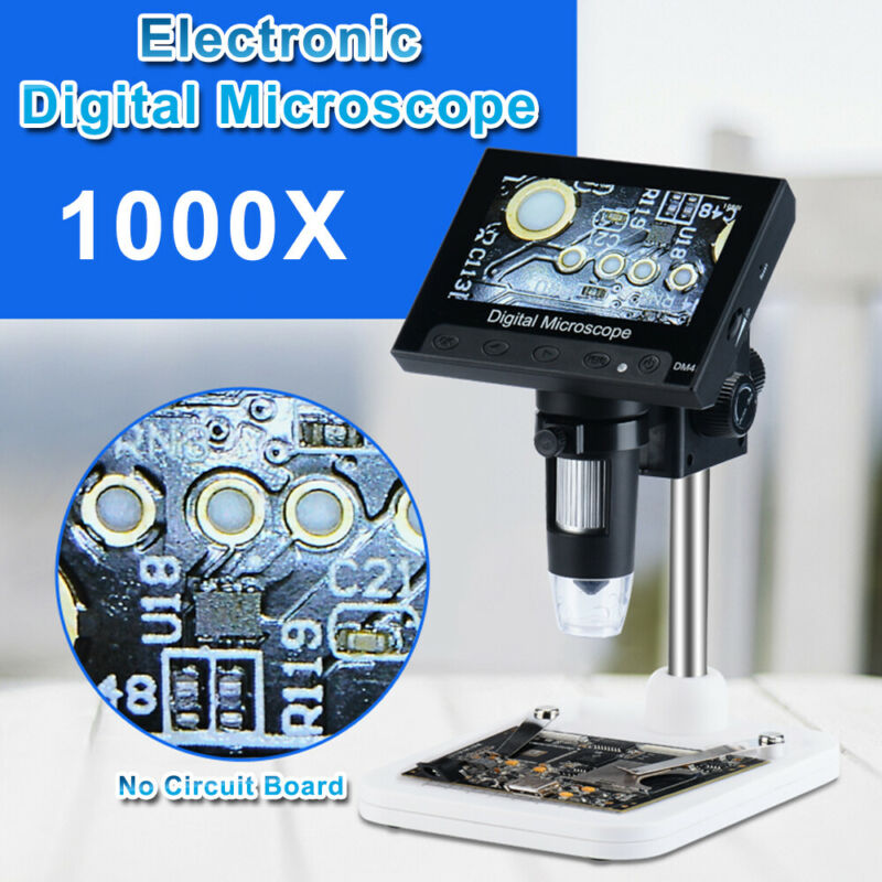 "Adjustable 4.3"" 1000X HD LCD Monitor Electronic Digital Microscope LED Magnifier"