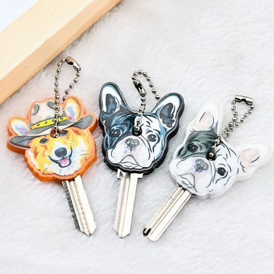 1pc Case Keychain Key Holder French Bulldog Dog Cartoon Pendant Silicone (Bulldog Keychain)